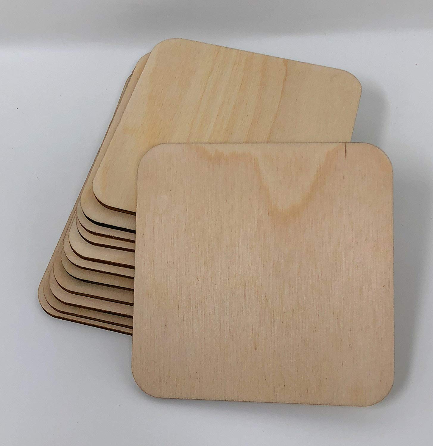 Gocutouts Unfinished Wooden Coasters 4''x4'' 25 Pack Birch Wooden Coaster Blanks (25 Pack)