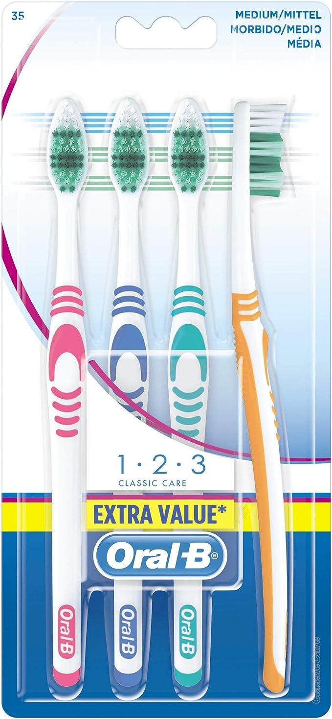 Oral-B Shiny Clean Paquete de Cepillos de Dientes, Medio - 4 ...