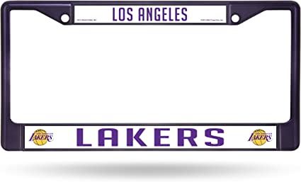 NBA Rico Industries  Laser Cut Inlaid Standard Chrome License Plate Frame Los Angeles Lakers