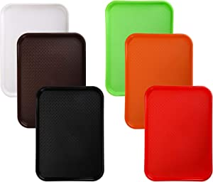 Yarlung 6 Pack 16x11 Inches Plastic Fast Food Trays, Serving Trays for Restaurant, Coffee Table, Kitchen, Party, 6 Colors