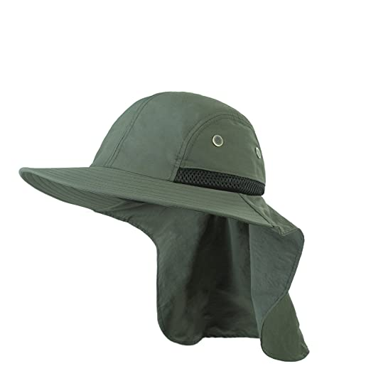 06b0f7fbfd2 Headwear Extreme Condition Sun Hat - Neck Flap Cover Fishing Cap with  Breathable Mesh (Army