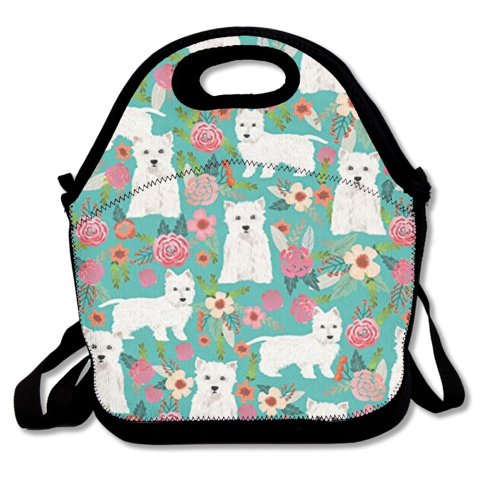 Westie Florals Cute Dog Lunch Bag Lunch Tote Lunch Pouch Handbag Made For Women, Men And Kids