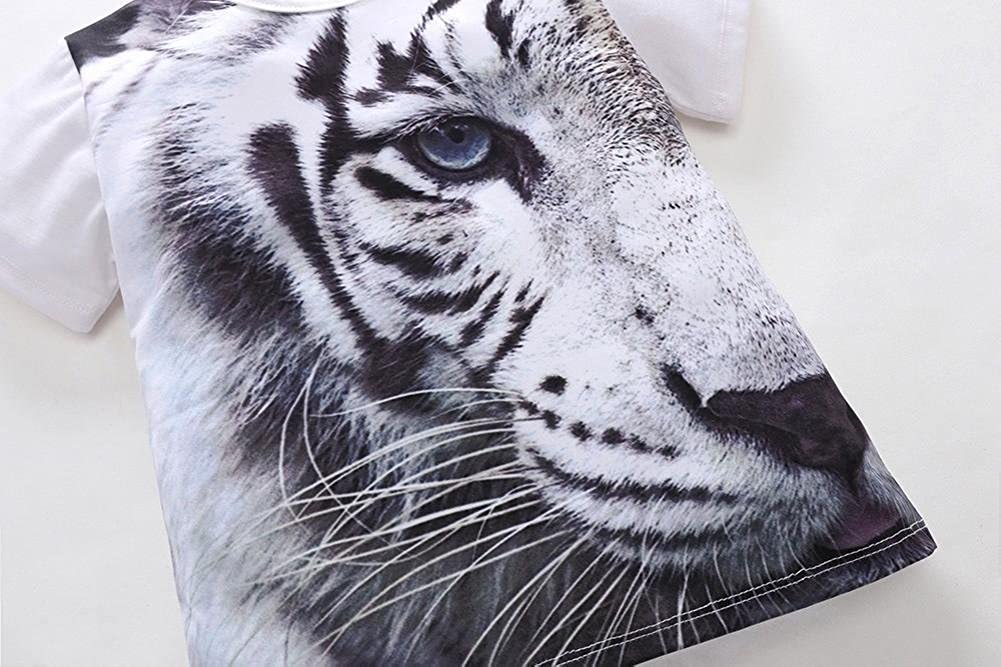 Boys Girls Tiger Animal 3D Print T-Shirt Tops Outfits Casual Clothes squarex Baby Tops