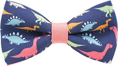 by Bow Tie House Dinosaurs bow tie pre-tied pattern blue-peach colors unisex shape