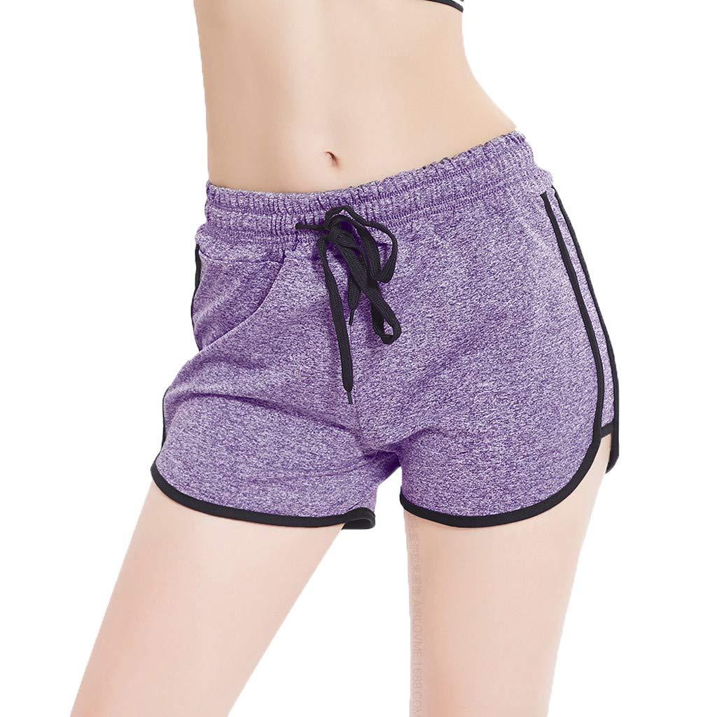 Sunyastor Women's Summer Dolphin Running Workout Shorts Stripe Fitness Fast-Drying Fitness Short Pant Cotton Shorts Purple