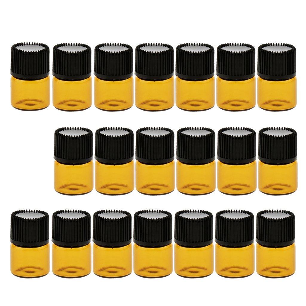 MagiDeal 20Pcs Braunglasflasche mit Schraubverschluss mit Dichtungsscheibe Allzweckgläser, Haushaltsgläser Pillendose, Make-up Kosmetik leere Flaschen - Braun 2ml 0020010930015FRA