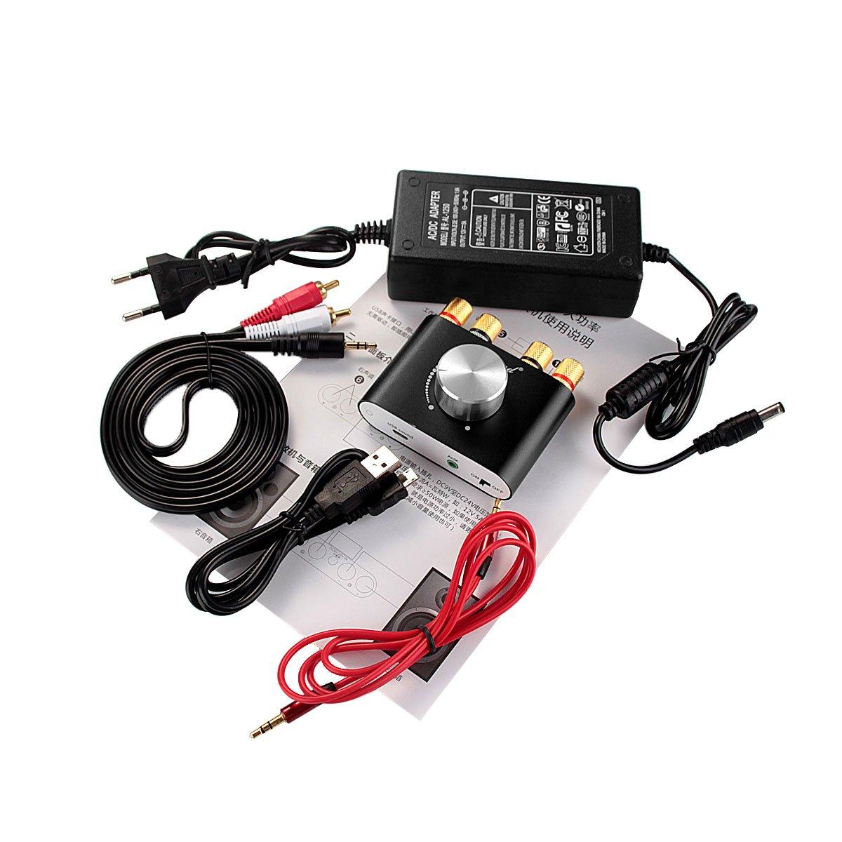 Bluetooth; R/écepteur audio sans fil; Carte son avec carte dalimentation Nobsound Mini Amplificateur de puissance Bluetooth; Stereo Hi-Fi Digital Amp 2.0 Channel 50W /× 2 avec entr/ée AUX USB noir