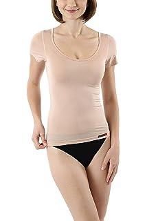 3a2656dbefc858 Albert Kreuz Business Damenunterhemd unsichtbar aus Micromodal Light  atmungsaktiv Kurzarm extra-tiefer Rundausschnitt Hautfarbe Nude