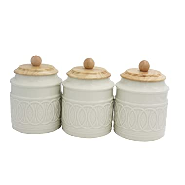 Ravenna Classic Stoneware 3-Piece Filigree Canister Set - Set of 3, White with Wood Lid