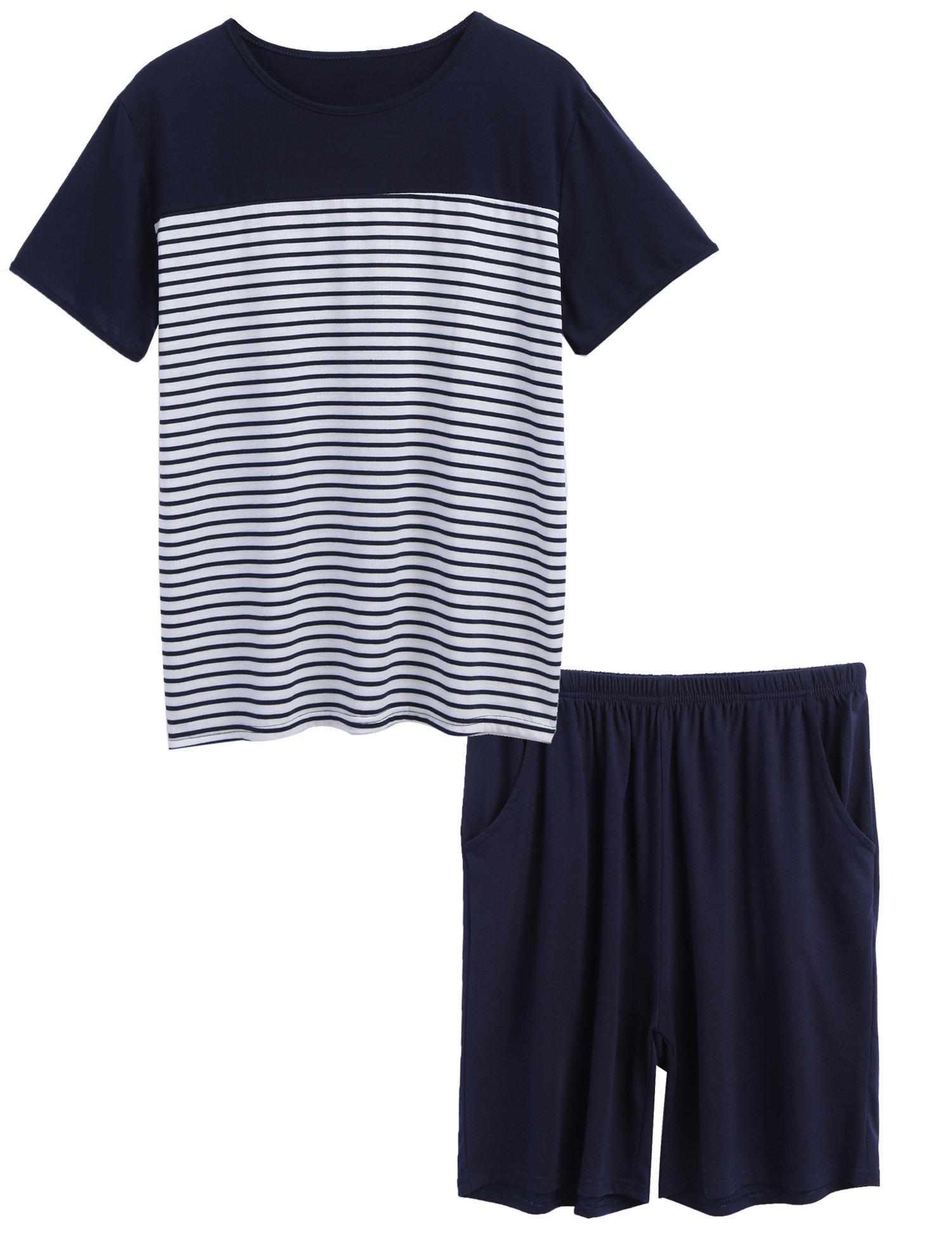 luxilooks Plus Size Lounge Set Men's 2-Piece Sleepwear Set Classic Summer Pajama Set (Navy,XXL)