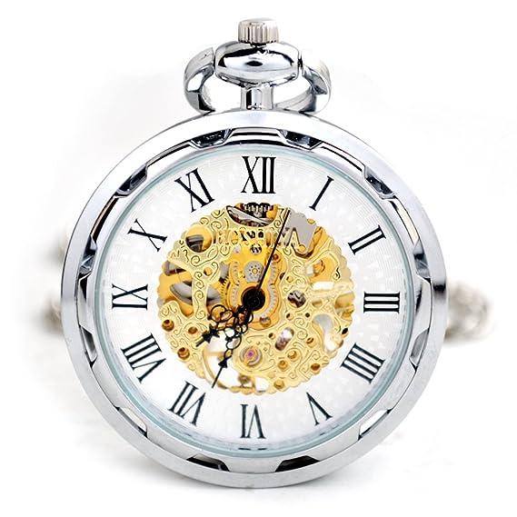 HWCOO Relojes De Bolsillo Reloj de bolsillo mecánico Reloj de cadena colgante de la maquinaria de la moda Reloj mecánico de la cuerda del viento de la moda ...