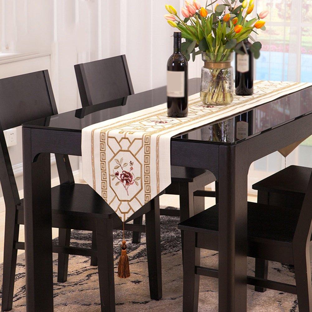 JIANFEI テーブルランナー クラシック ファッション 刺繍 マニュアル タッセル 防塵の コットンアマ カバー布、 ブレンド、 3色、 6サイズあり (色 : ベージュ, サイズ さいず : 32*260cm) 32*260cm ベージュ B07D1RKCC9