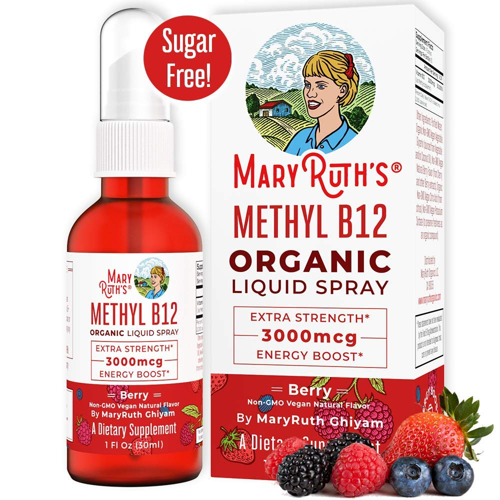 (Extra Strength-60 Day) Organic Vitamin B12 (Methyl) Liquid Sublingual Spray by MaryRuth Energy Boost - Sugar Free - Non-GMO Vegan - Gluten Free - Paleo - Bariatric & Celiac Glass Bottle 1oz-3000 mcg by MaryRuth Organics