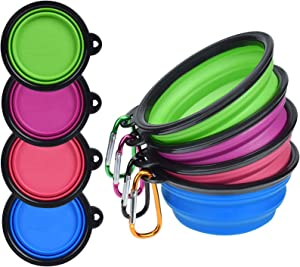 PetBonus 4-Pack Silicone Collapsible Dog Bowls, BPA Free Dishwasher Safe, Portable Foldable Expandable Travel Bowl, Food Water Feeding Cup Dish for Dogs Cats (Blue + Green + Purple + Pink)