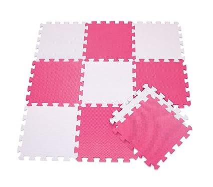 410387 Alfombra puzzle goma EVA 10 pz juego modular 29.5 x 29.5 cm BICOLORE - Rosa