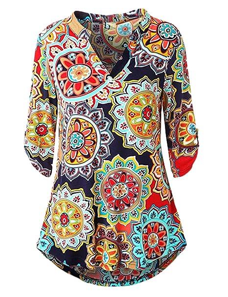 d1ef9464288 Tops De Mujer Camiseta De Primavera Y Verano Estampado Floral Manga Larga  Cuello En V Básico Suelta Moda Joven Estilo étnico Casual: Amazon.es: Ropa  y ...