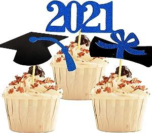 YuBoBo 2021 Graduation Cupcake Toppers, Glitter Blue 48 PCS Food/Appetizer Picks For Graduation Decorations Party Mini Cake Picks, Diploma, 2021, Grad Cap Set 48 Pieces