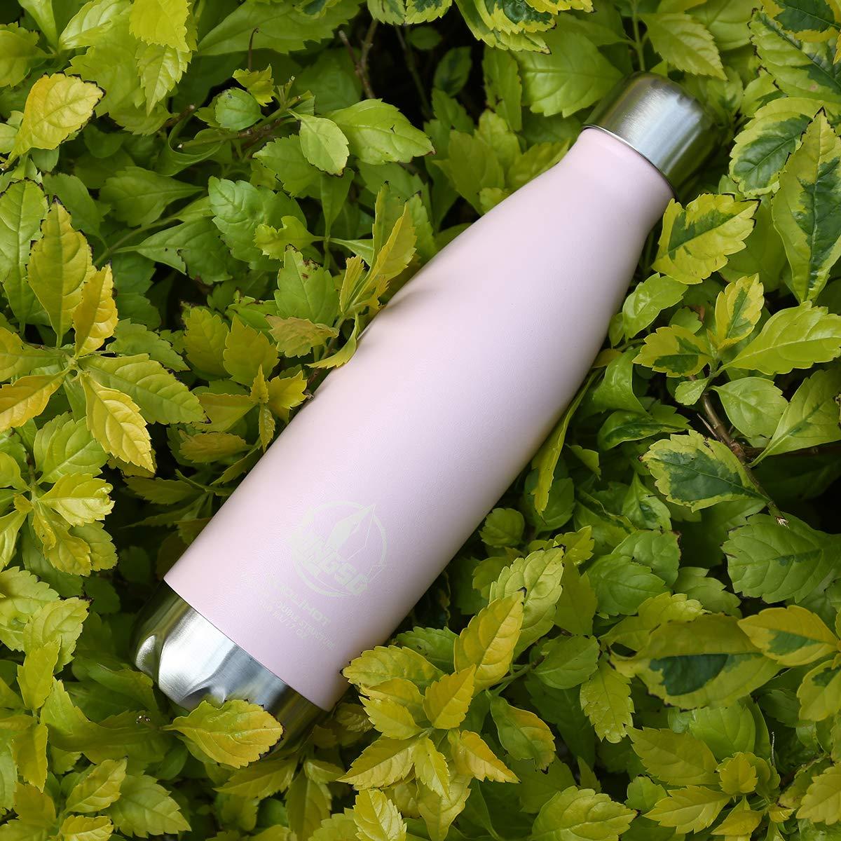 KINGSO Trinkflasche Sportflasche Edelstahl Camping Reisebecher Haelt Getraenke Thermobecher, 12 Stunden Kalt & 24 Heiß, 5 Macaron (500ml, Pink)