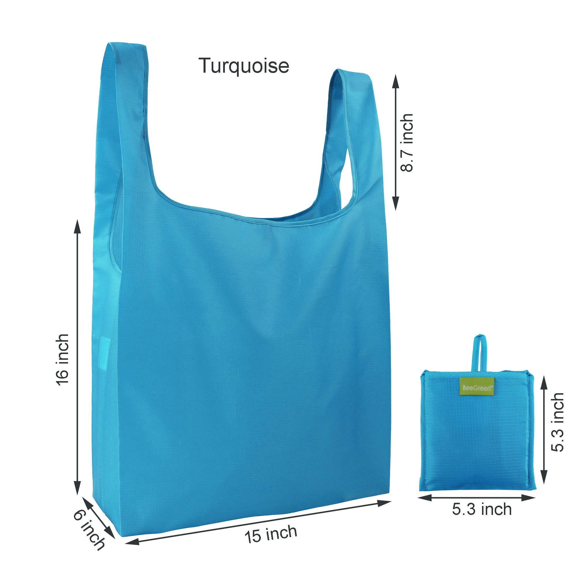 Reusable Grocery Bags Set of 5, Grocery Tote Foldable into Attached Pouch, Ripstop Polyester Reusable Shopping Bags, Washable, Durable and Lightweight (Royal,Purple,Pink,Orange,Teal) by BeeGreen (Image #2)