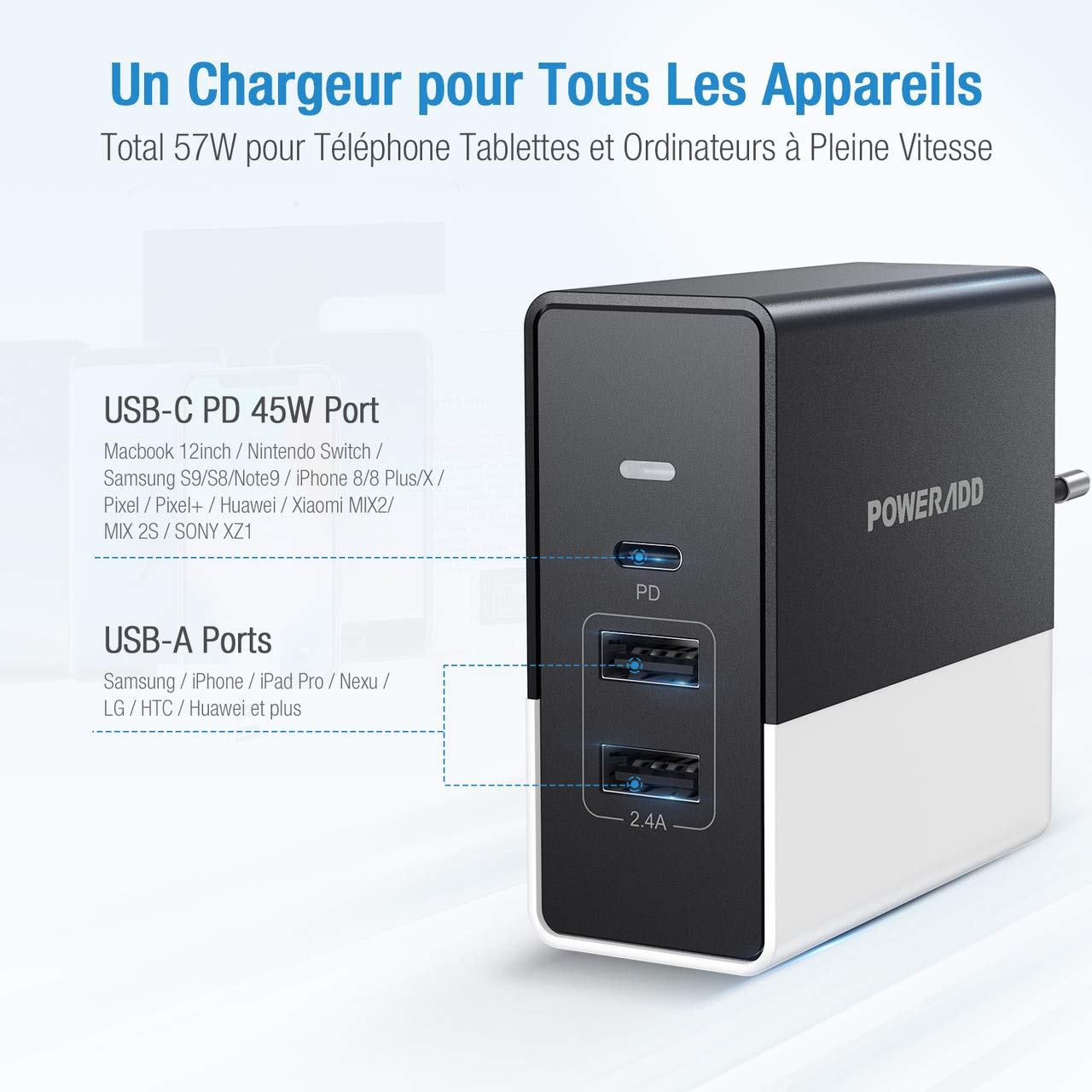 POWERADD USB-C Chargeur Secteur USB 57W 3 Ports avec 1 Port Type-C Power Delivery 3.0 45W Chargeur Mural Universel pour iPhone XS/XS Max, MacBook, Samsung Galaxy S8 / Note 8, Huawei, Nexus, LG etc