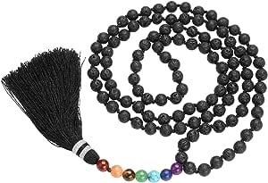 qgem 108cuentas de oración Mala pulsera tibetana budista Buda meditación piedra collar, borla colgante