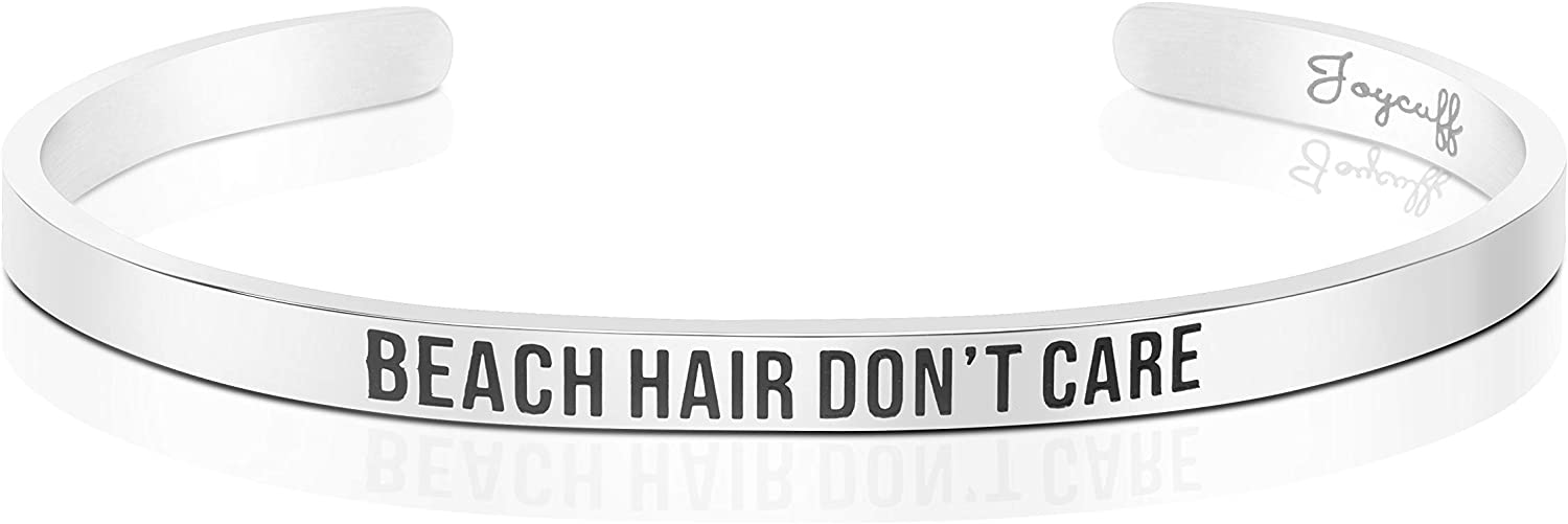 Joycuff Summer Bracelets for Women Beach Hair Don't Care Personalized Cuff Mantra Bangle Inspirational Jewelry