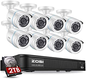 ZOSI Full 1080p Security Camera System for Home,H.265+ CCTV DVR8 Channel with Hard Drive 2TB and 8 x 1080p Surveillance Bullet Camera Outdoor with 80ft Night Vision,Remote Access,Motion Detection