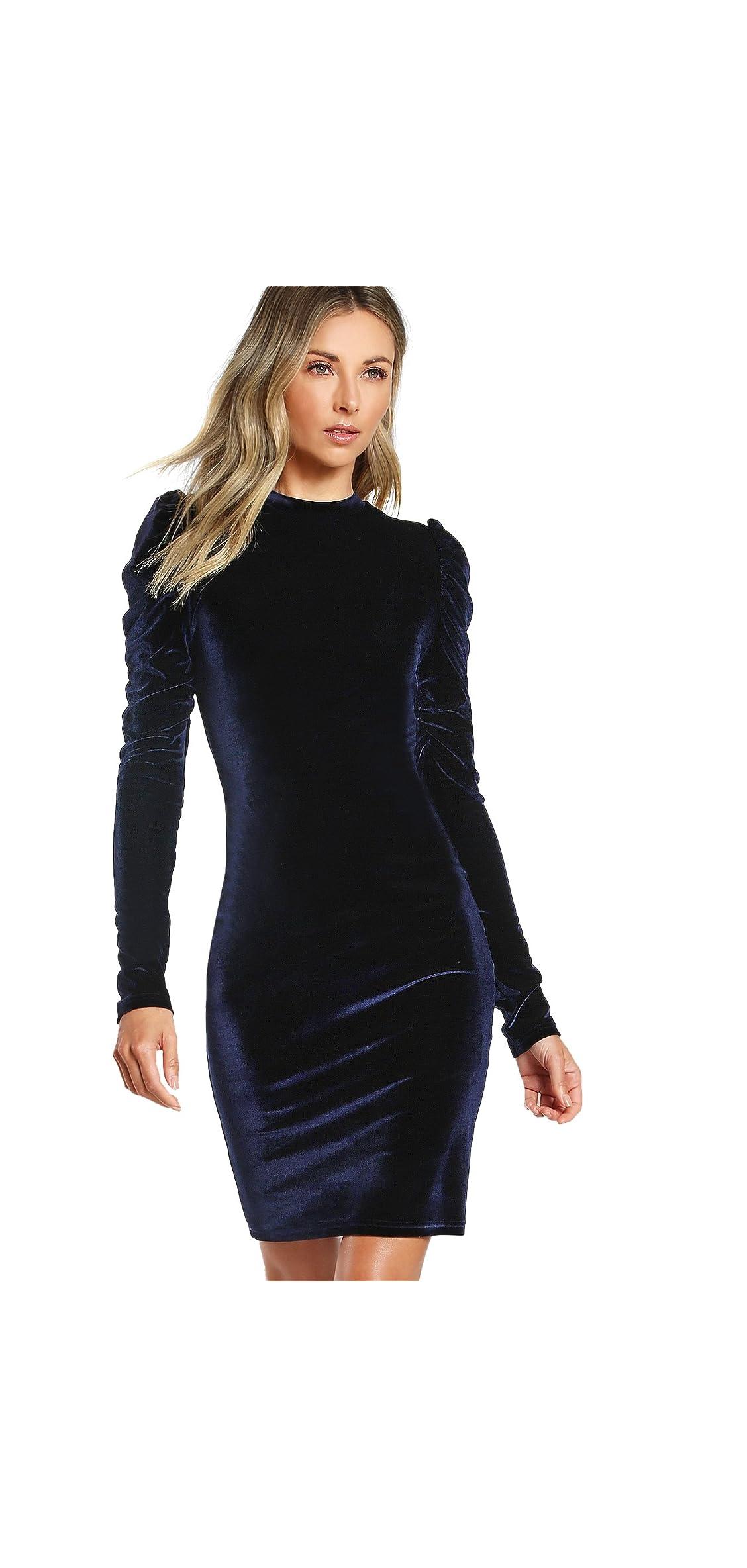 Women's Puff Long Sleeve Cocktail Velvet Bodycon Dress