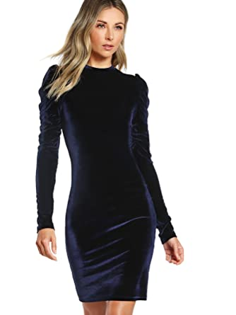 f4af5d691f4 Floerns Women s Puff Long Sleeve Cocktail Velvet Bodycon Dress Blue XS