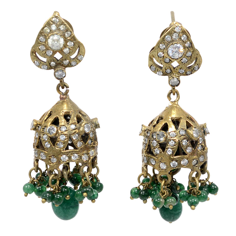 Silvestoo Jaipur Green Jade /& Cubic Zircon Gemstone Brass Earring PG-109541