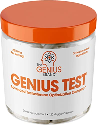 Genius Test – The Smart Testosterone Booster For Men Natural Energy Supplement, Brain Libido Support, Fat Loss Muscle Builder with Ksm-66 Ashwagandha, Shilajit and Tongkat Ali, 120 Veggie Pills