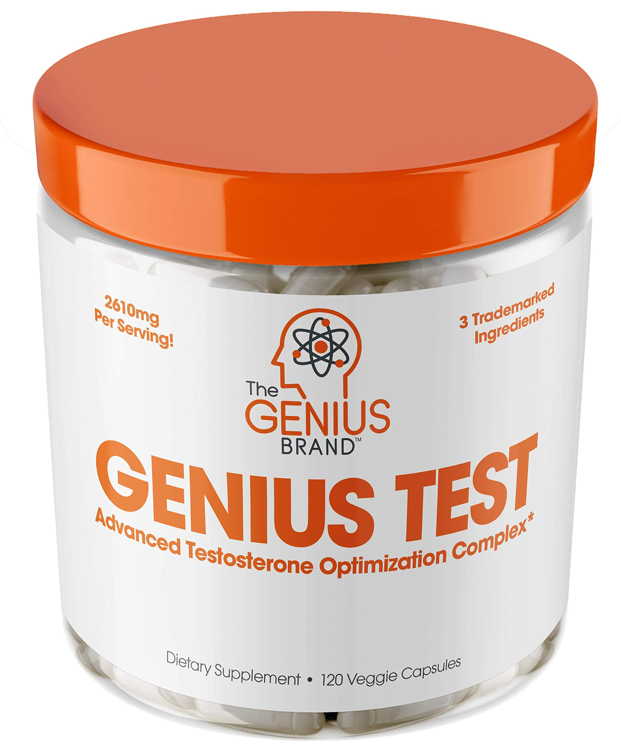 Genius Test - The Smart Testosterone Booster For Men | Natural Energy Supplement, Brain & Libido Support, Fat Loss | Muscle Builder with Ksm-66 Ashwagandha, Shilajit and Tongkat Ali, 120 Veggie Pills by The Genius Brand