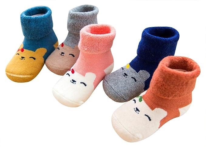 Aivtalk - Pack de Calcetines Largos para Bebés Recien Nacido Niños Niñas de Algodón Calcetines Primeso Pasos Caliente para Otoño Invierno - ...