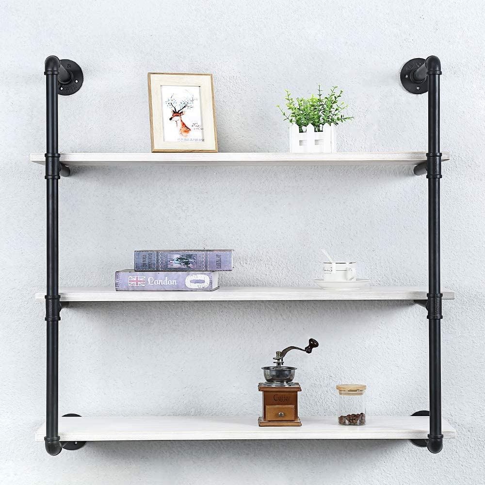 Industrial Pipe Shelving Wall Mounted,36in Rustic Metal Floating Shelves,Steampunk Real Wood Book Shelves,Wall Shelf Unit Bookshelf Hanging Wall Shelves,Farmhouse Kitchen Bar Shelving(3 Tier)