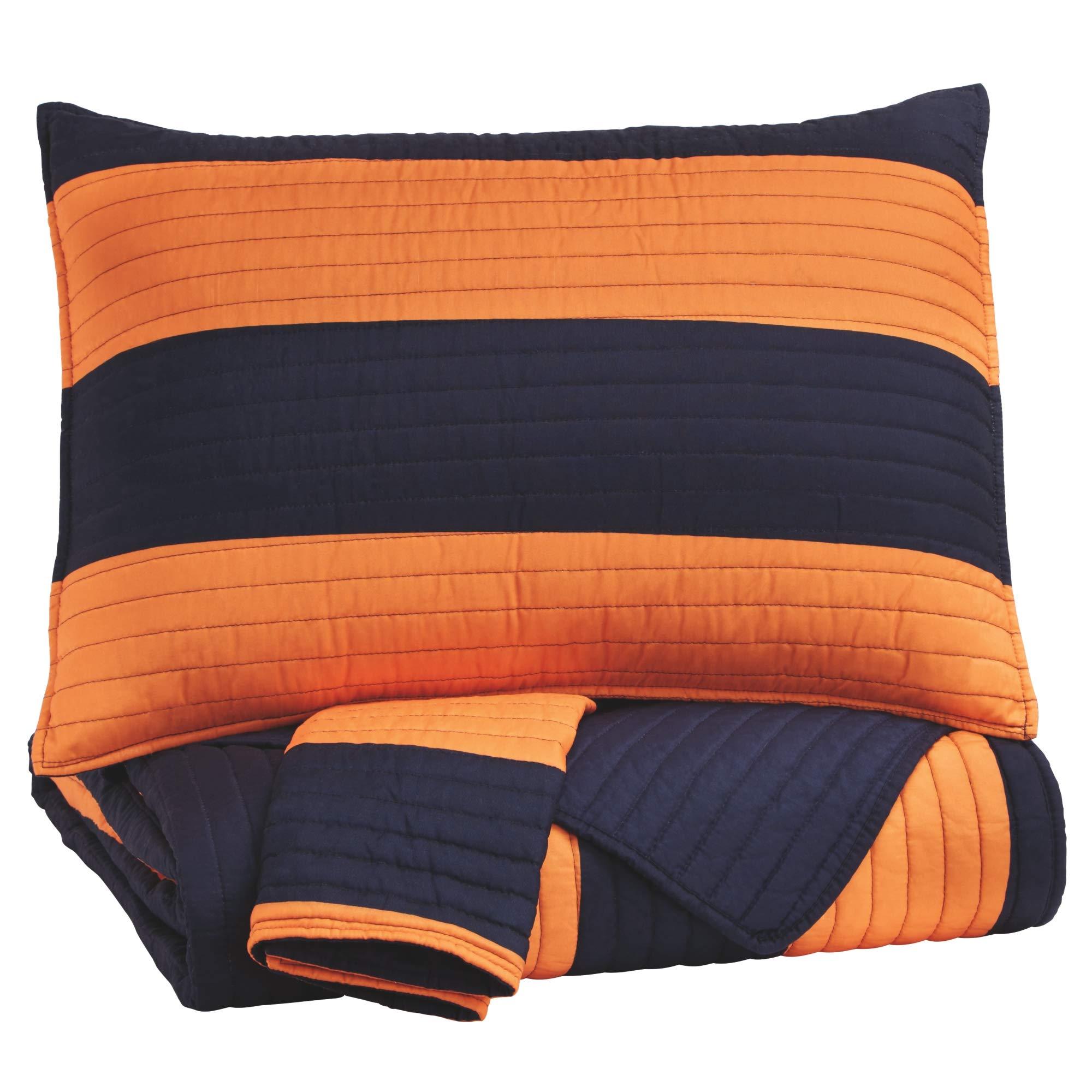 Ashley Furniture Signature Design - Nixon Coverlet Set - Full - Youth - Orange/Navy by Signature Design by Ashley