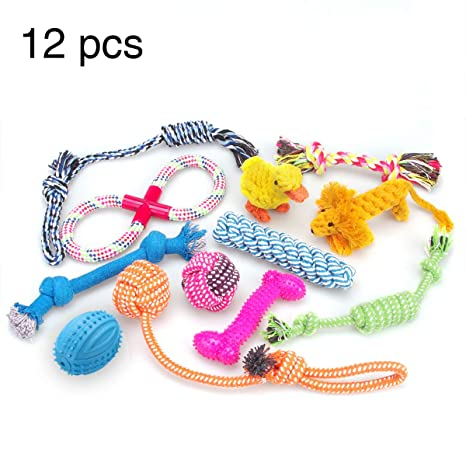 751456bec9cc98 RoyalCare Giocattoli per cani 12 pacchetti Set regalo, corda a sfera  masticare giocattoli scioccanti per