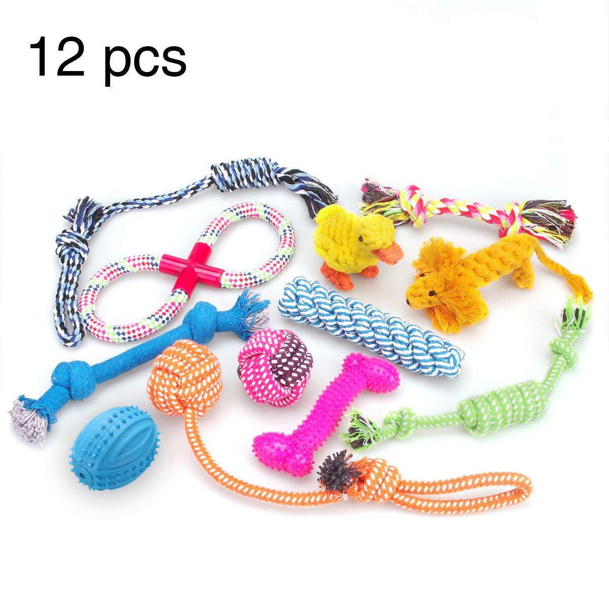 Juguetes para perros Juego de regalo de 12 paquetes, cuerda de bola RoyalCare y masticar