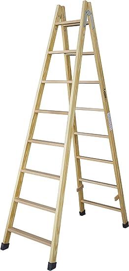 Escalera de tijera de madera con peldaño de haya de 54 mm. Fabricada según UNE-EN 131. (9 peldaños): Amazon.es: Bricolaje y herramientas