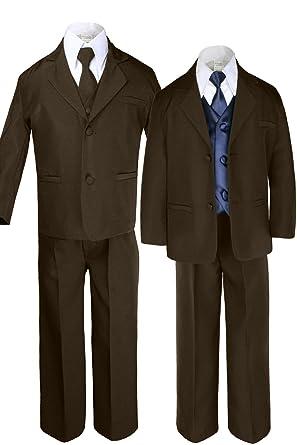 Amazon.com: unotux 7pc niños café trajes con satén azul ...
