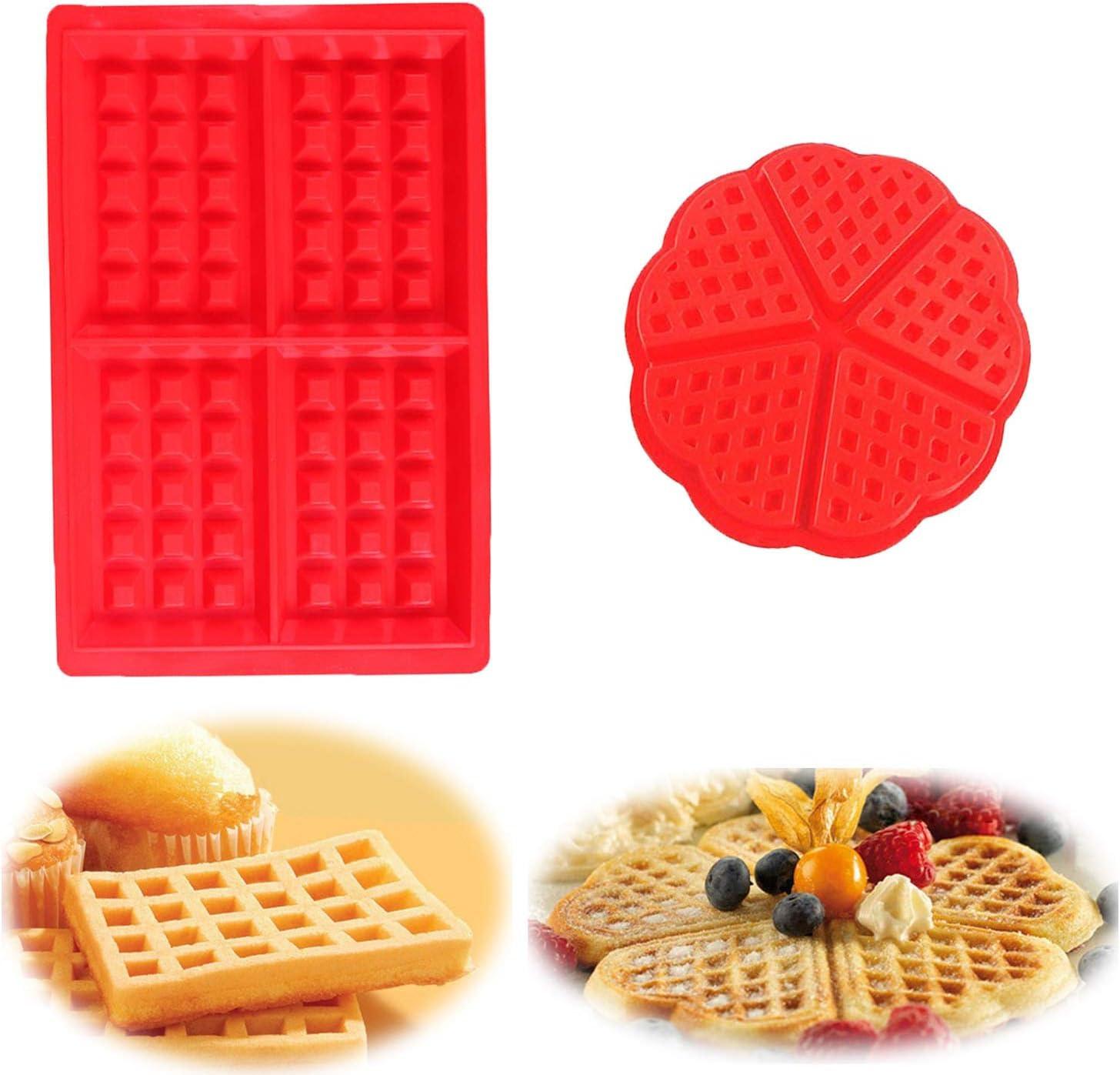 WELLXUNK Molde Gofres Silicona, Moldes Waffle, Galletas para Tarta Muffin Cocina Herramientas, para Lavavajillas, Horno, Microondas, Refrigerador
