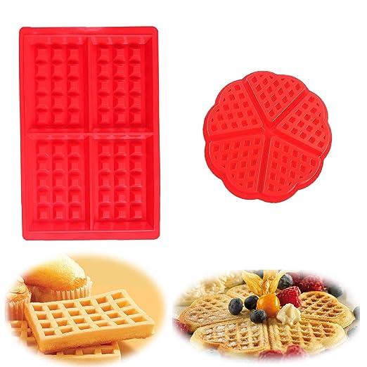 YIKEF Molde Gofres Silicona, Moldes Waffle, Galletas para Tarta ...
