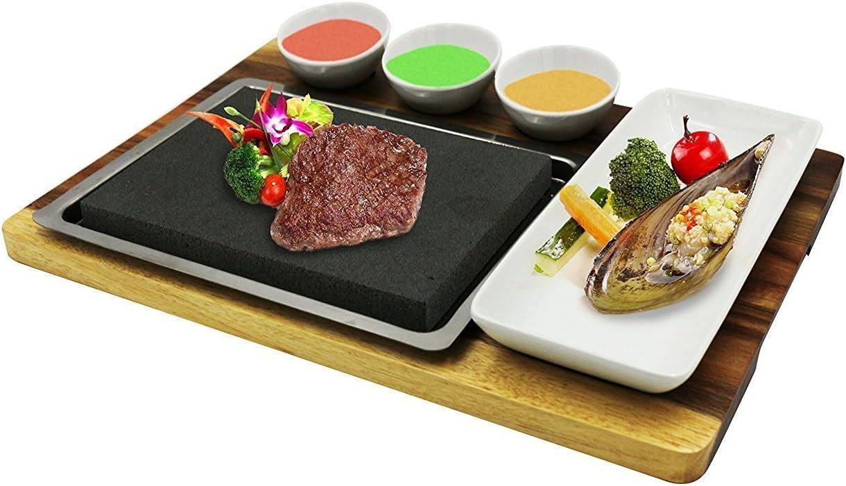 Fecihor cuisson de pierre /à steak Hot Stone Grill pour les ramequins /à steak en bambou Plateau de service en acier inoxydable Plateau