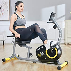pooboo Magnetic Recumbent Exercise Bike Indoor Cycling Bike Stationary Bike with Pulse, LCD Monitor, Water Bottle and Adjustable Seat
