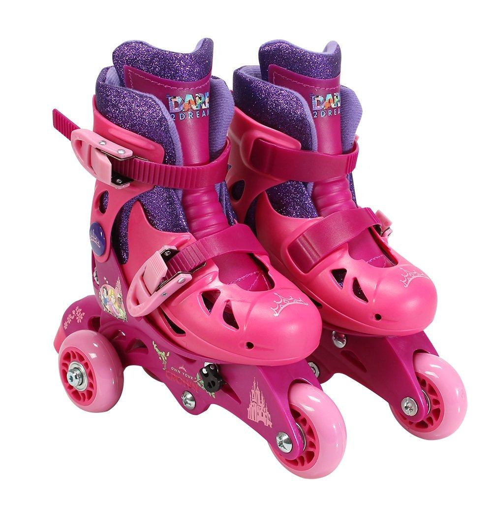 PlayWheels Disney Princess Glitter Convertible 2-in-1 Skates, Junior Size 6-9
