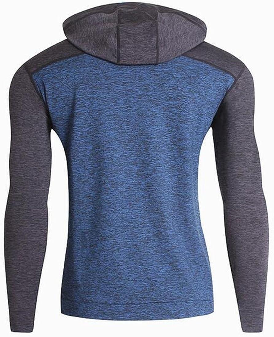 Ptyhk RG Men Contrast Raglan Hoodie String Connect Long Sleeve Sweatshirts