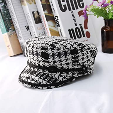 9d8dc2f40cd Women Berets Caps Military Hat British Style Lady Knitted Plaid Newsboy Navy  Fall Winter Warm