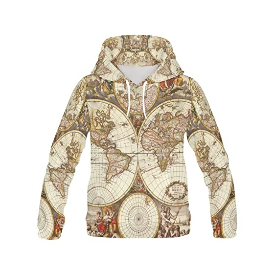 Amazon vintage old world map womens 3d printed pullover hooded vintage old world map womens 3d printed pullover hooded sweatshirt gumiabroncs Images