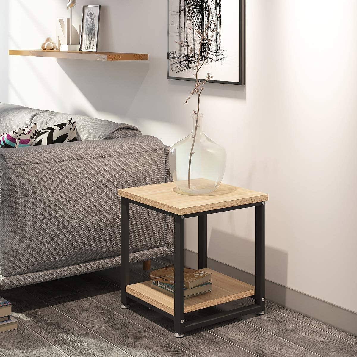 Nightstands,End Table 17.7 Inch,Side Table 0.98 Inch Thicker Accent Table with 185 lbs Weight Capacity,Square Side Table with an Additional Lower Shelf Fits in Small Spaces Living Room Bedroom