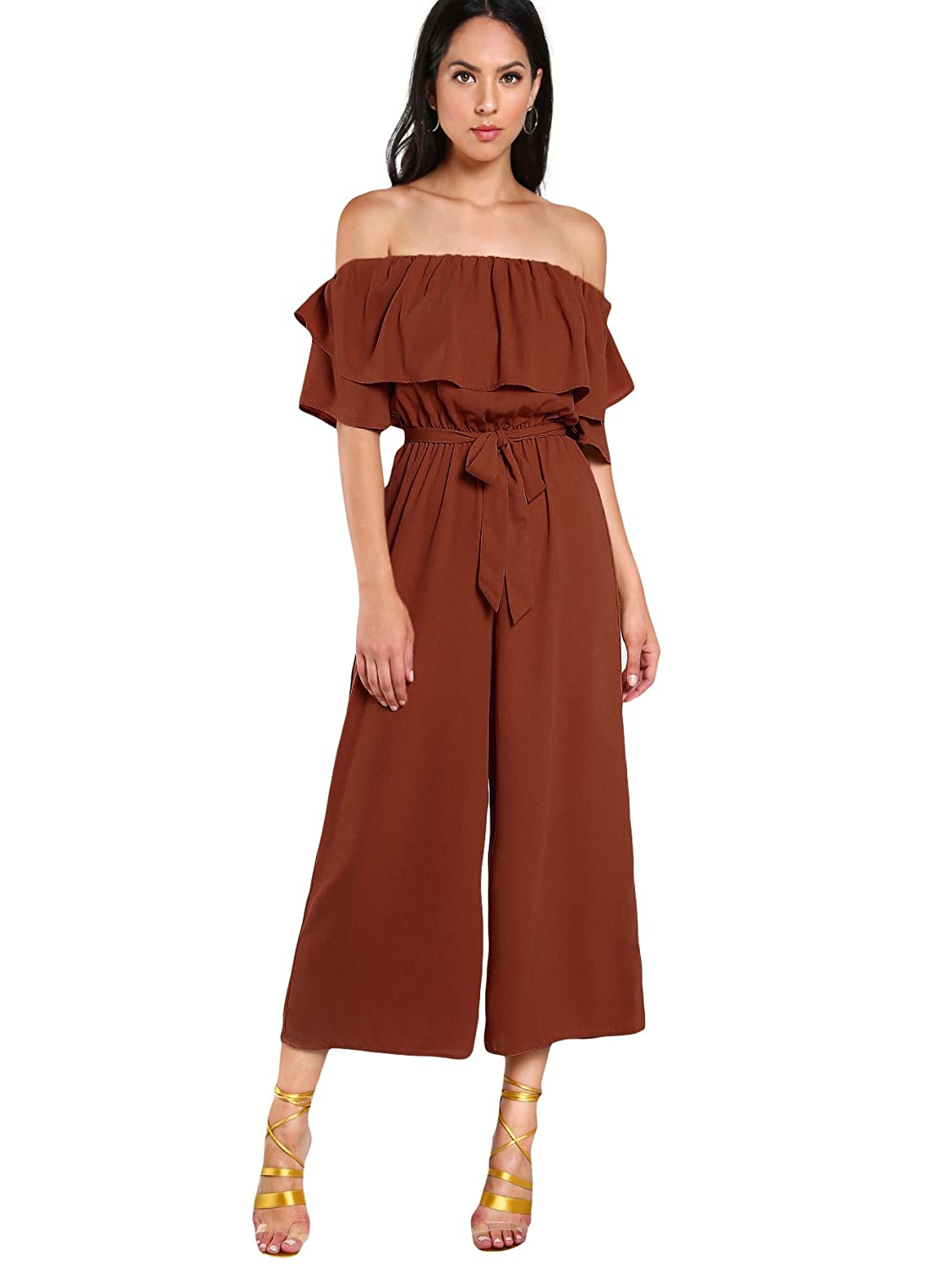 88a717fa35f Amazon.com  Verdusa Women s Off Shoulder Exaggerate Tiered Layer Ruffle  Jumpsuit  Clothing