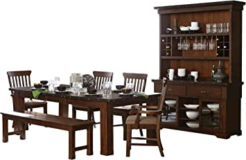 Amazon Com Sobrada Industrial 7pc Dining Set Table 2 Arm 2 Side Chair Bench Buffet Hutch In Rustic Brown Table Chair Sets